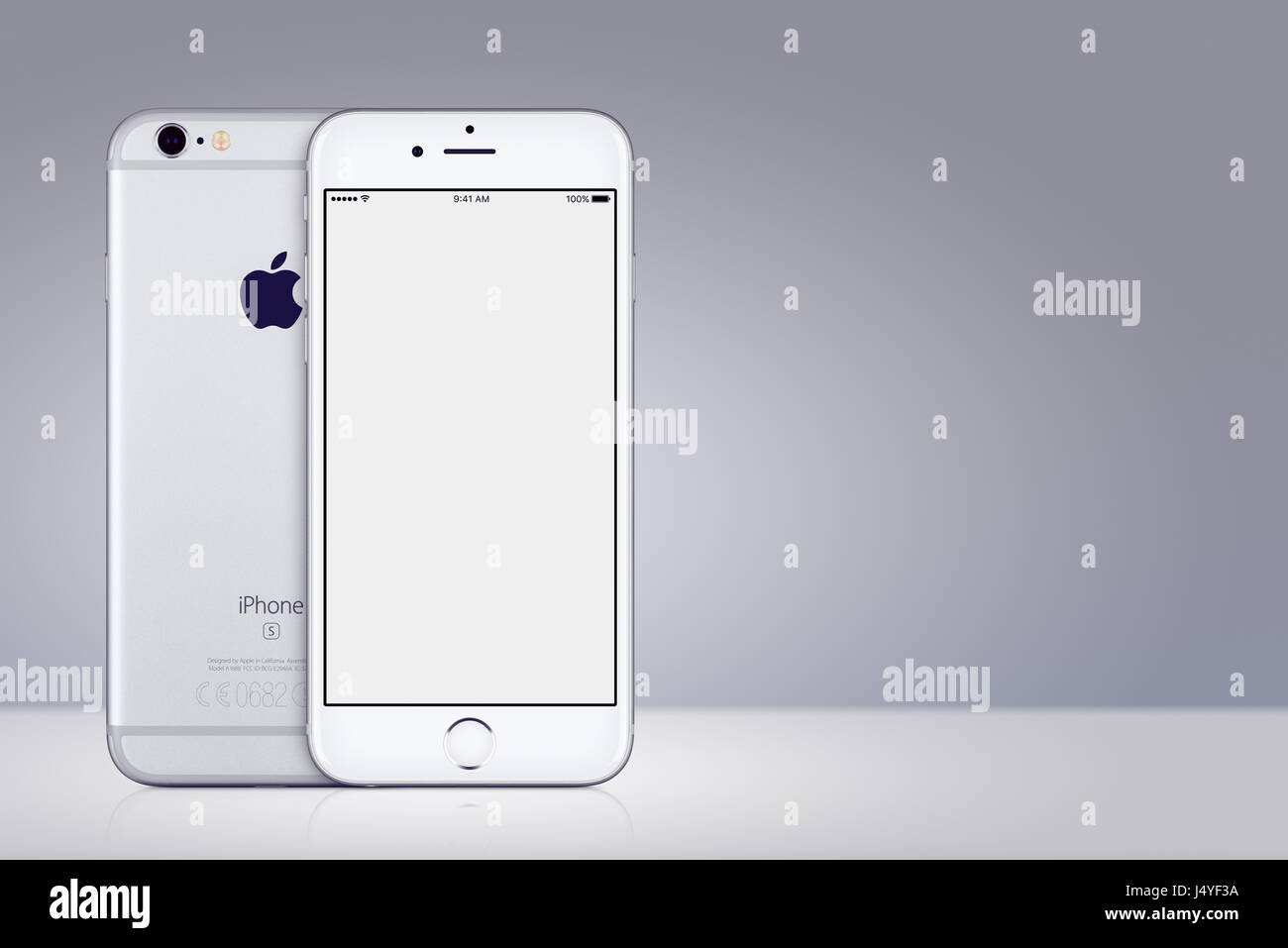 d3230e41a1d Silver Apple iPhone 7 mockup front and back side on gray background with  copy space -