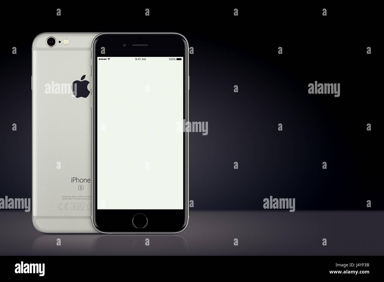 af9eaf0f548 Space Gray Apple iPhone 7 mockup front and back side on dark background  with copy space