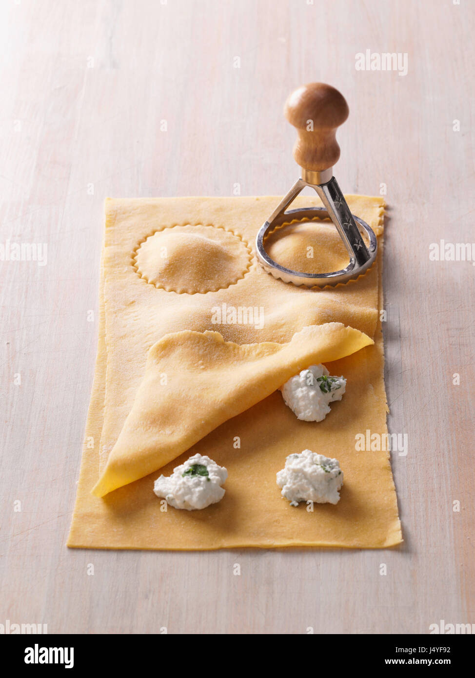 Step Ravioli Preparation Cut With A Pasta Stamp