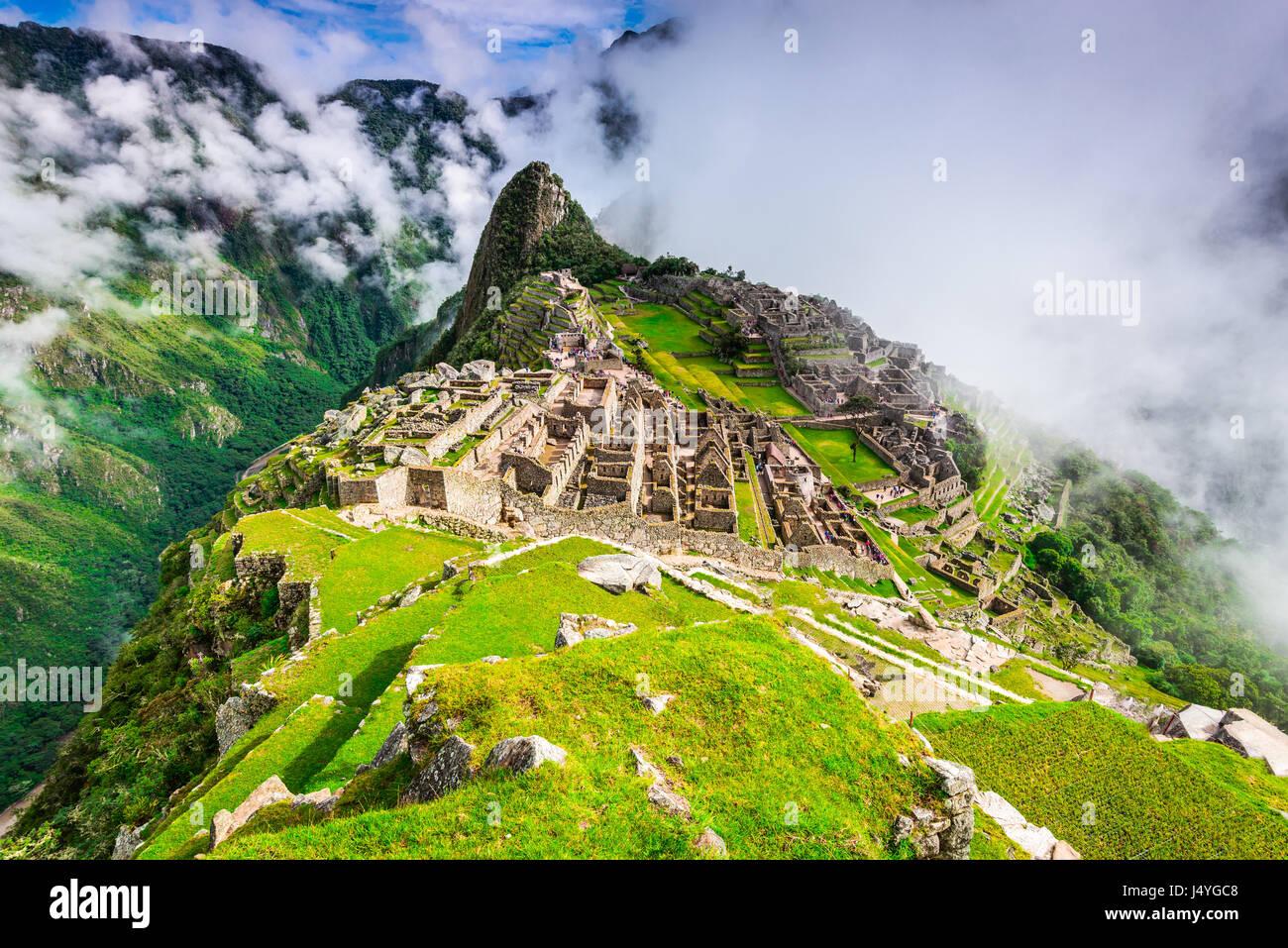 Machu Picchu, Peru - Ruins of Inca Empire city, in Cusco region, amazing place of South America. - Stock Image