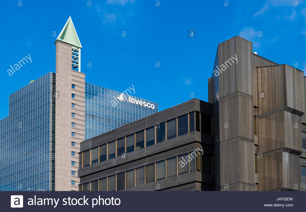 Invesco Building in Yonge Street. Architectural contrast in the city in Mel Lastman Square.    Invesco Ltd. is an - Stock Image