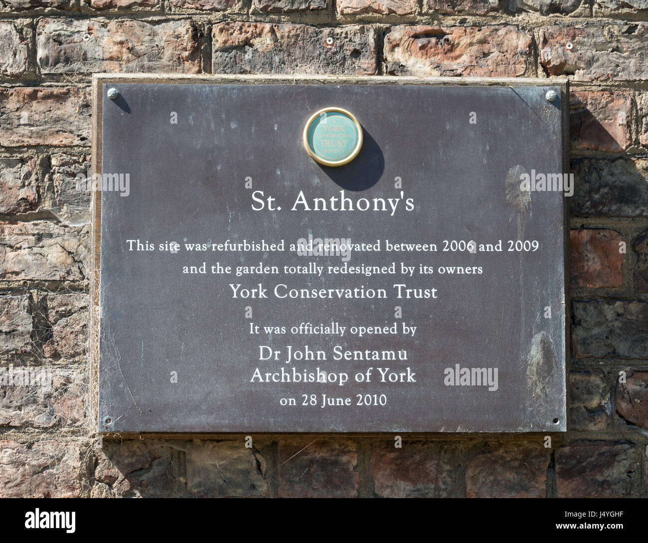 Plaque at St. Anthony's Garden, Peasholme Green, York, North Yorkshire, England, UK - Stock Image