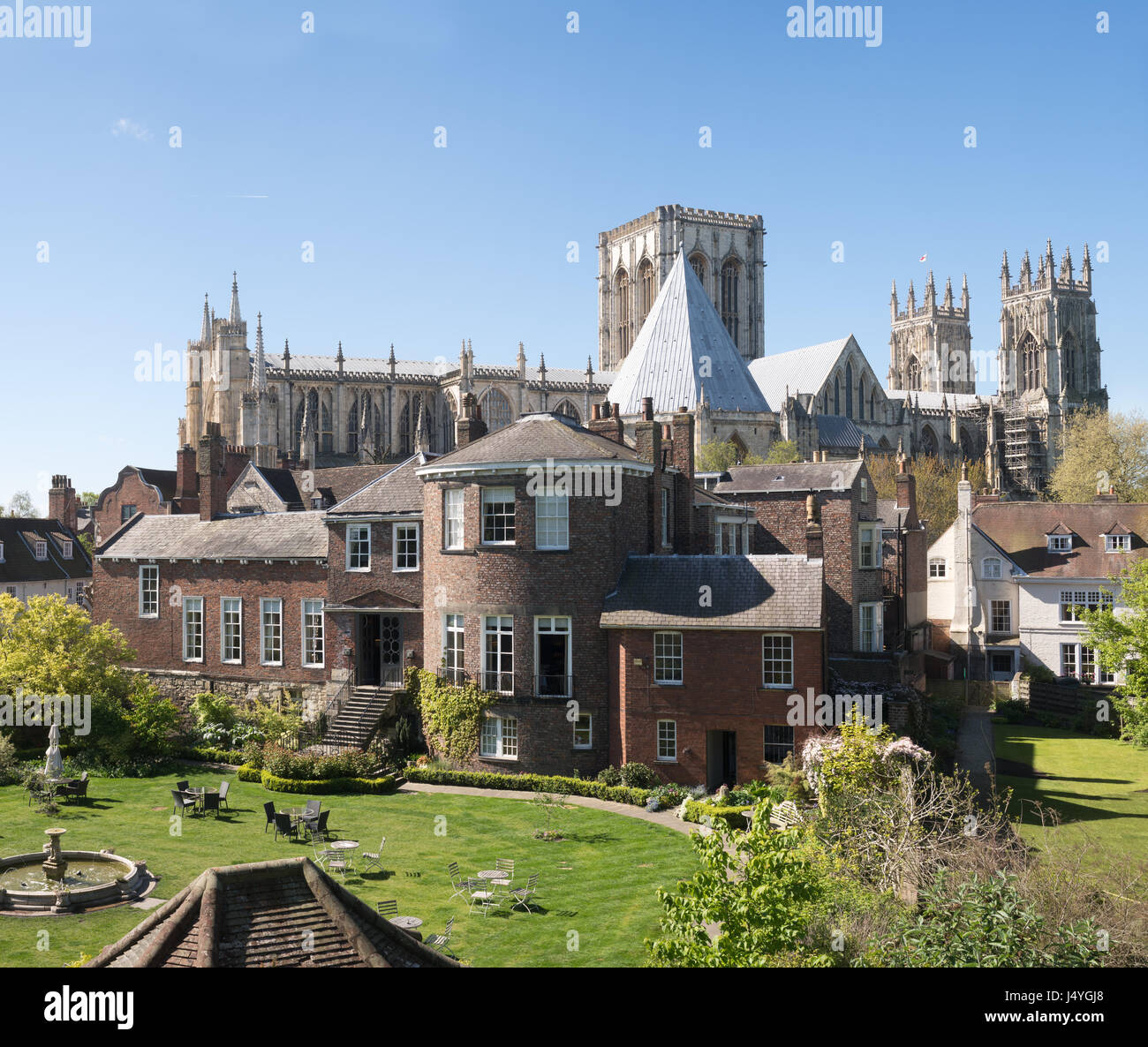 Grays Court Hotel and York MInster seen from the city walls, York, England, UK - Stock Image