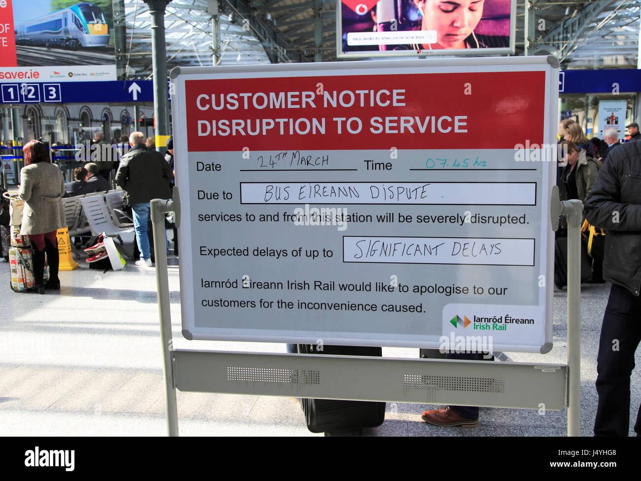 Bus Eireann industrial dispute travel disruption notice at Heuston railway station building, Dublin, Ireland, - Stock Image