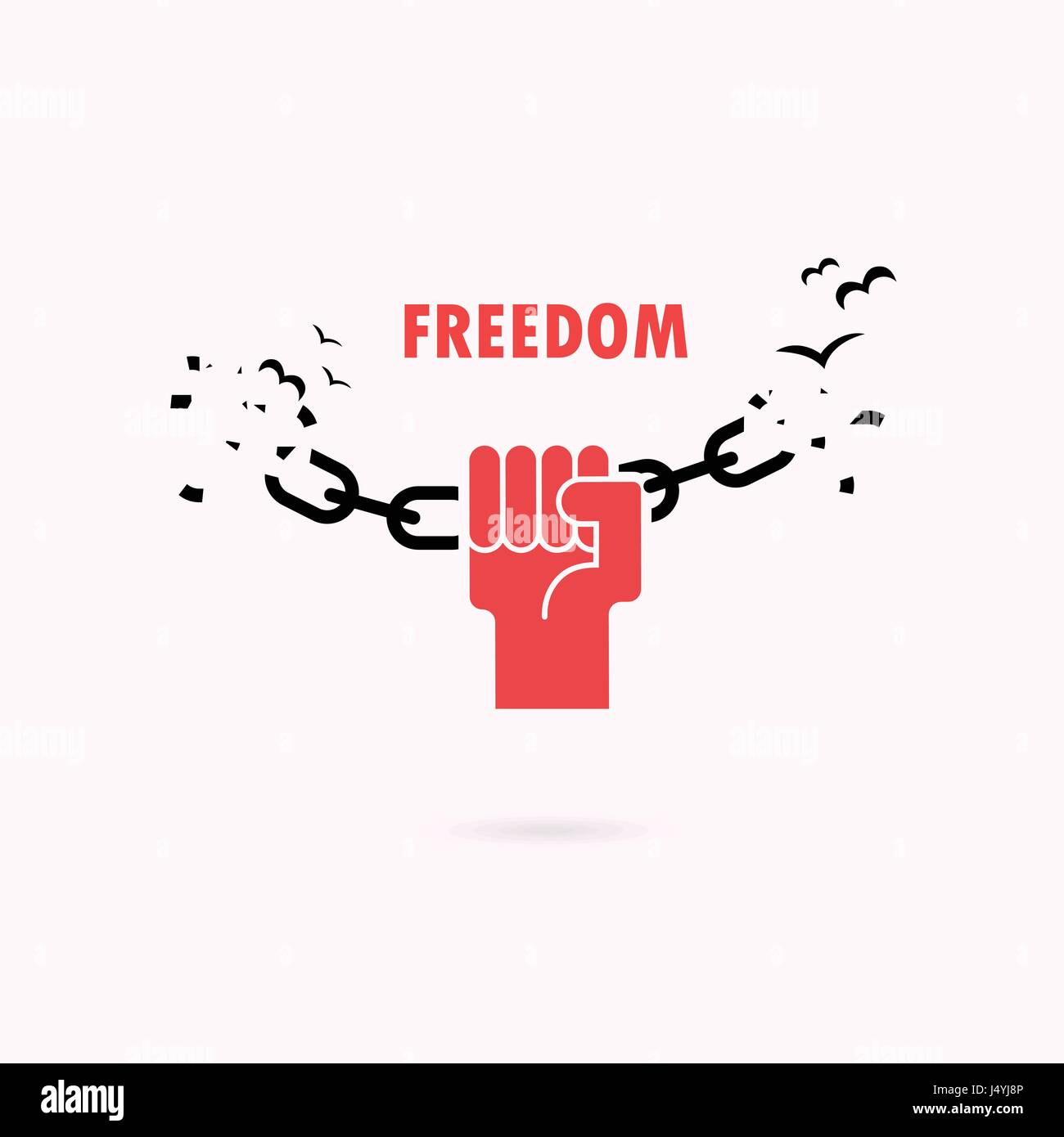 Human Hands And Broken Chain With The Bird SymbolsFreedom ConceptVector Illustration