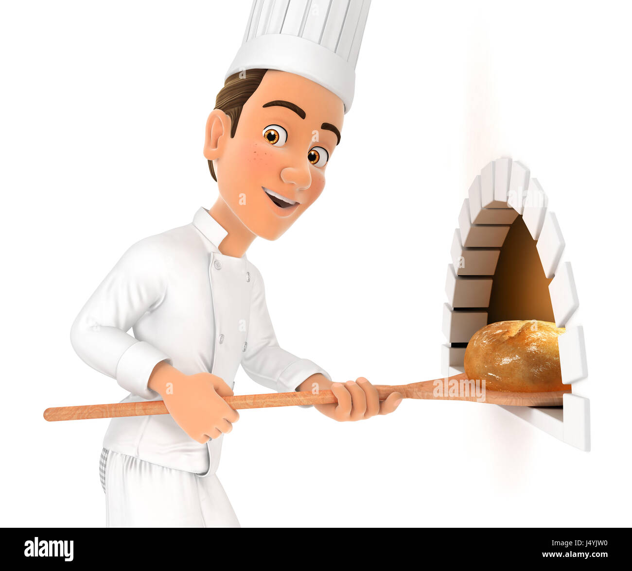 3d head chef putting bread in oven, illustration with isolated white background Stock Photo