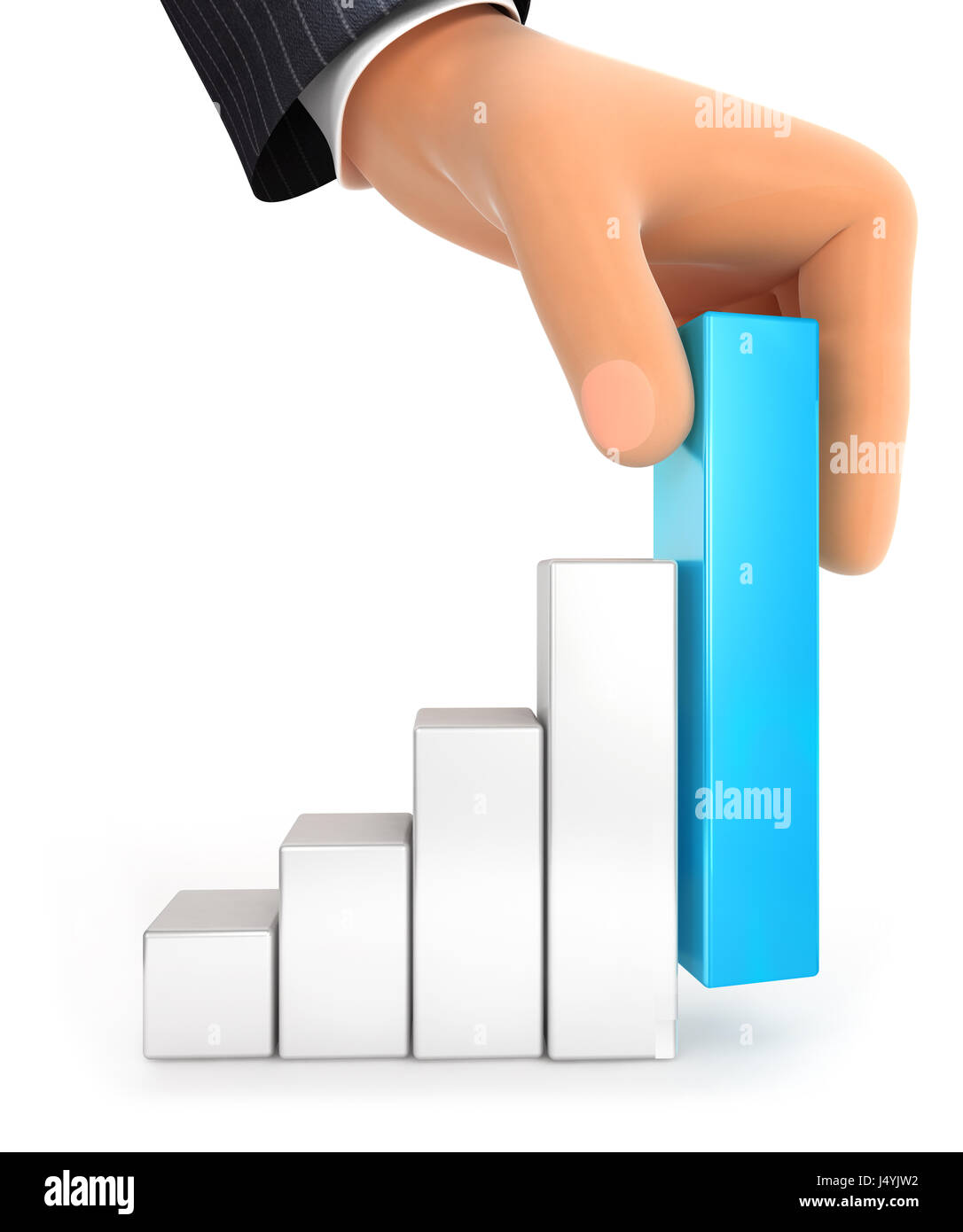 3d big hand and bar chart, illustration with isolated white background Stock Photo