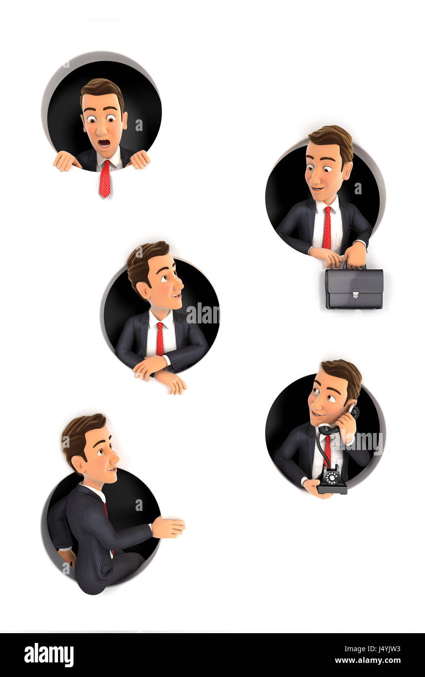 3d businessman coming through circular holes in wall, illustration with isolated white background Stock Photo
