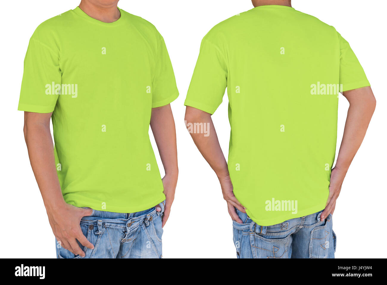 Man wearing blank conifer green t-shirt with clipping path, front and back view. Template for insert logo, pattern, - Stock Image