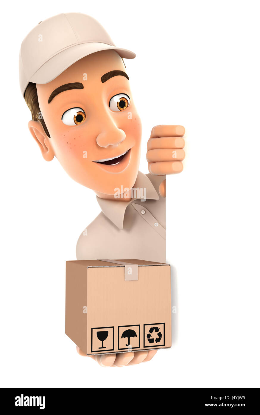 3d delivery man behind left wall and holding package, illustration with isolated white background Stock Photo