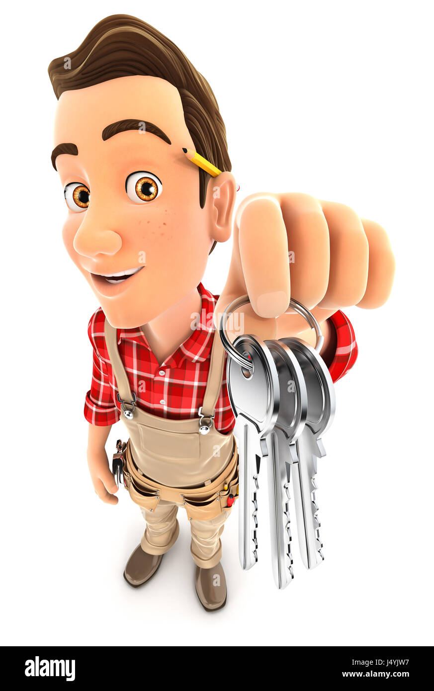 3d handyman holding a bunch of keys, illustration with isolated white background Stock Photo