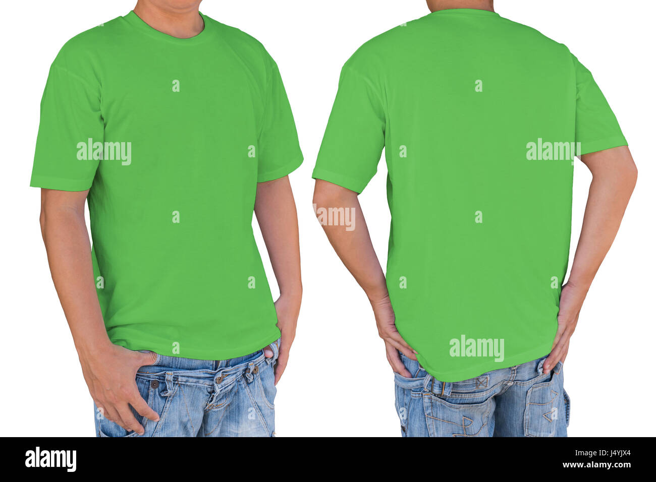 man wearing blank apple green t shirt with clipping path front and