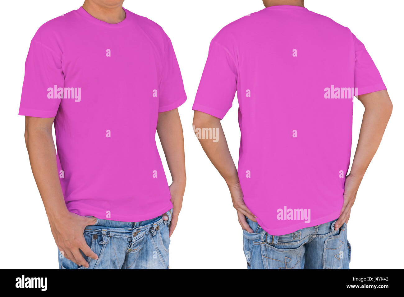 Man wearing blank  soft magenta t-shirt with clipping path, front and back view. Template for insert logo, pattern, - Stock Image