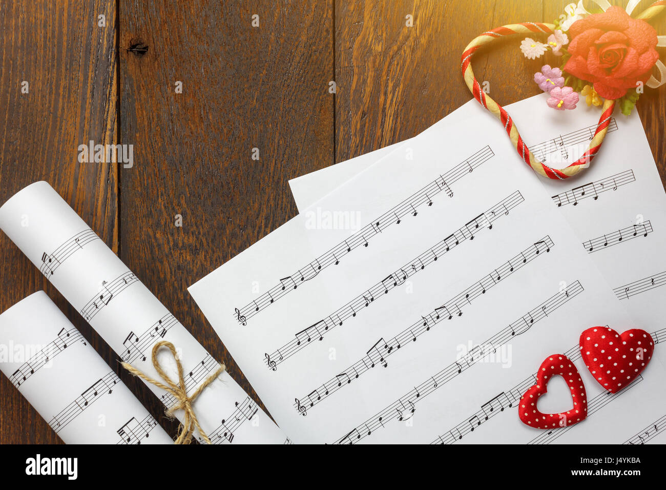 Top View Valentines Day Love Song Music Background And Stock Photo