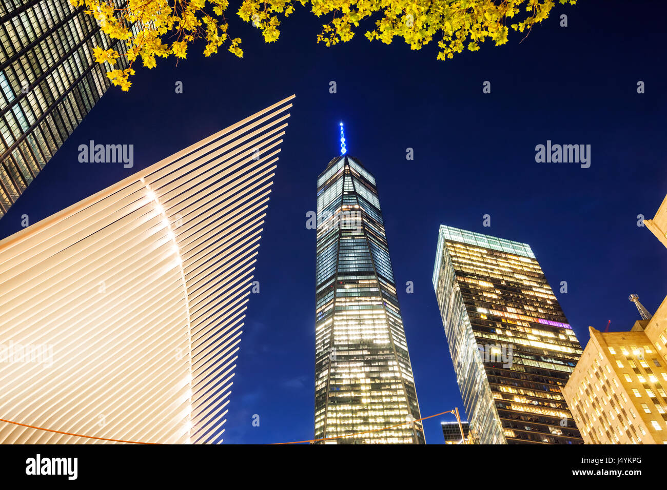 One World Trade Center at night Stock Photo