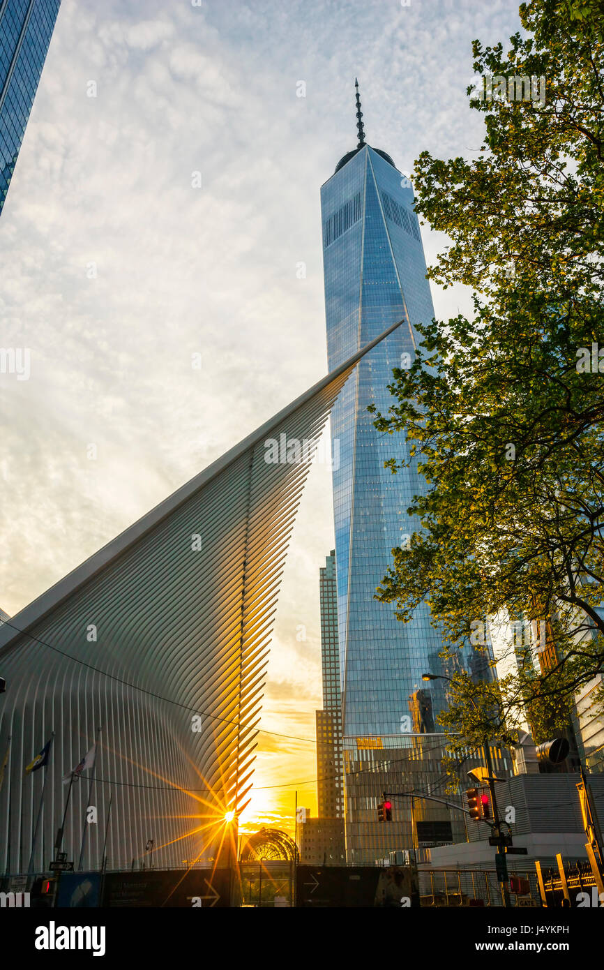 World Trade Center Transportation Hub at sunset by Santiago Calatrava and building of One World Trade Center on - Stock Image
