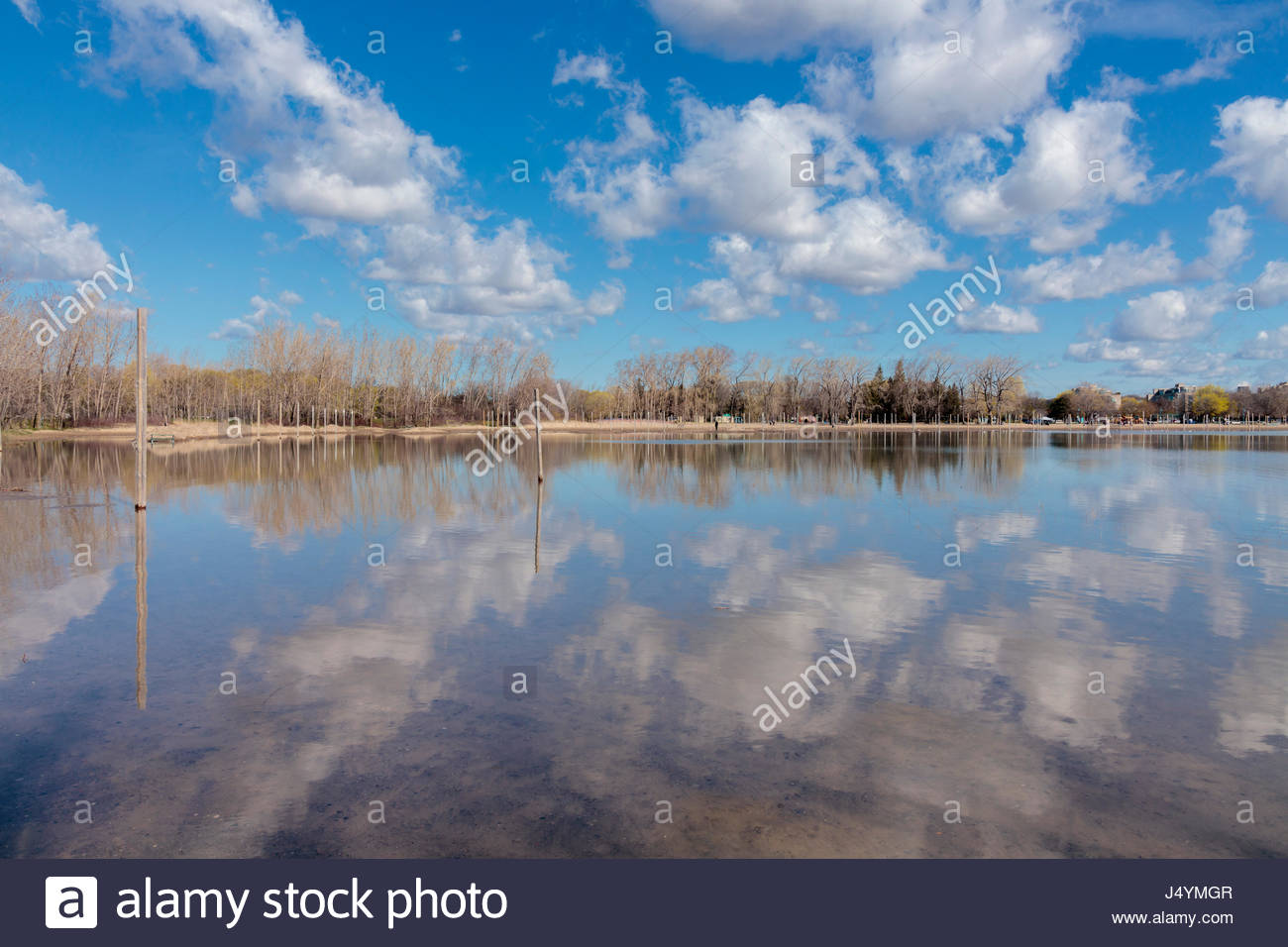 Cumulus clouds reflected in spring flooded beach volleyball courts in Toronto Ontario, Canada. partly cloudy - Stock Image