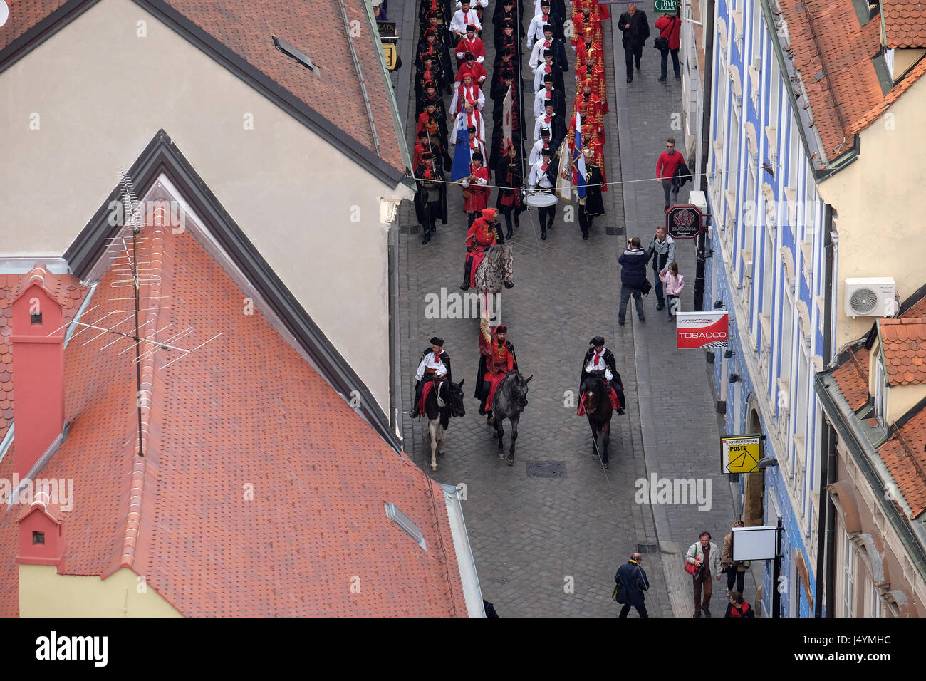 On the occasion of 'World Cravat Day', Honorary Cravat Regiment made a great spectacle changing of the Guard - Stock Image