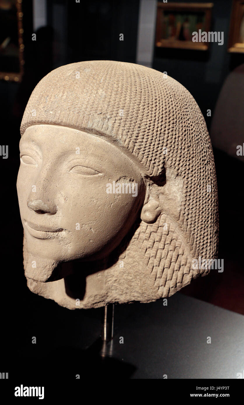 """""""Head of a Man"""" Egyptian stone from the 13/14th Century BC, on display in the Hungarian National Museum, Castle Stock Photo"""