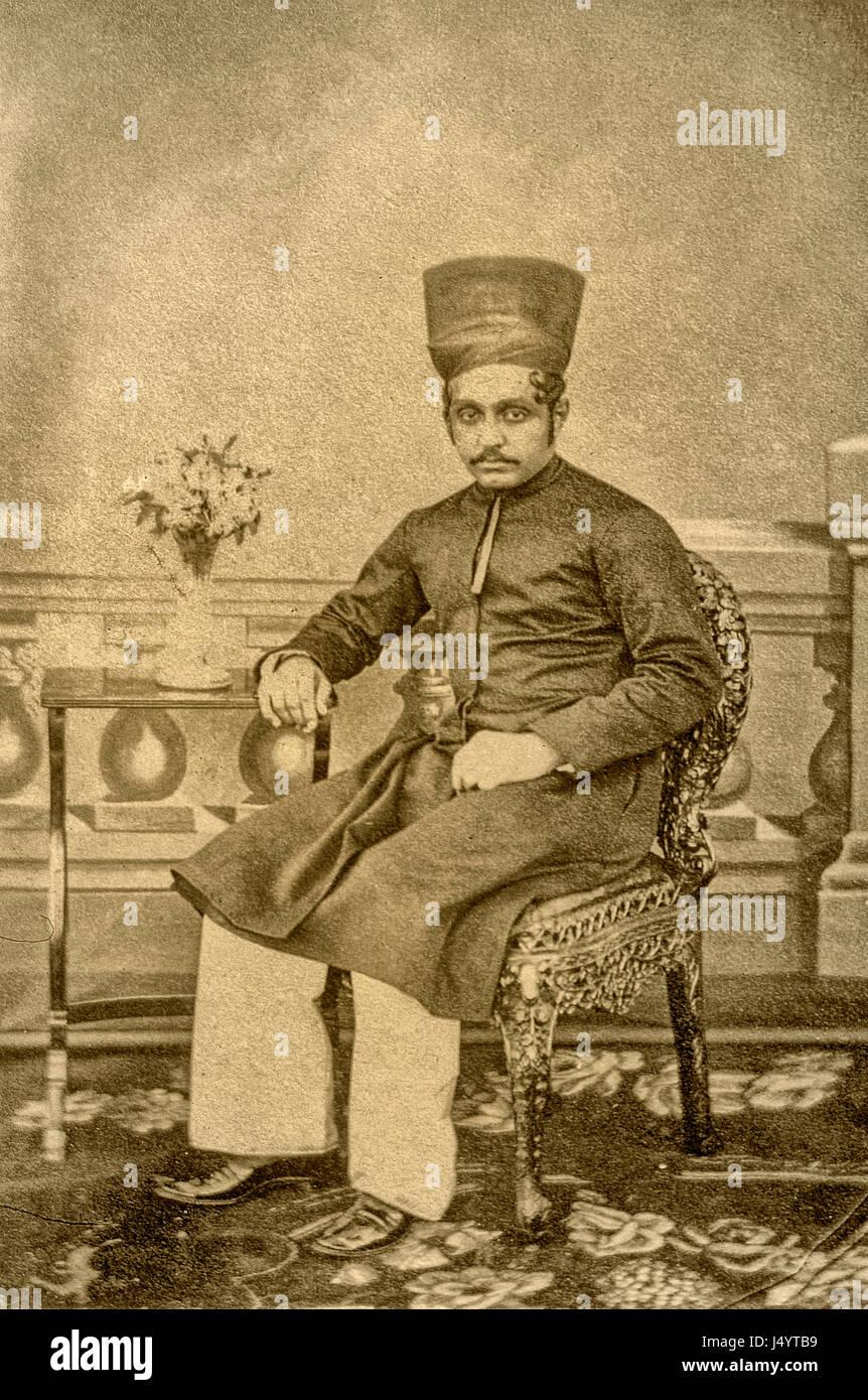 Vintage 1800s sepia photograph of parsi, mumbai, maharashtra, india, asia - Stock Image