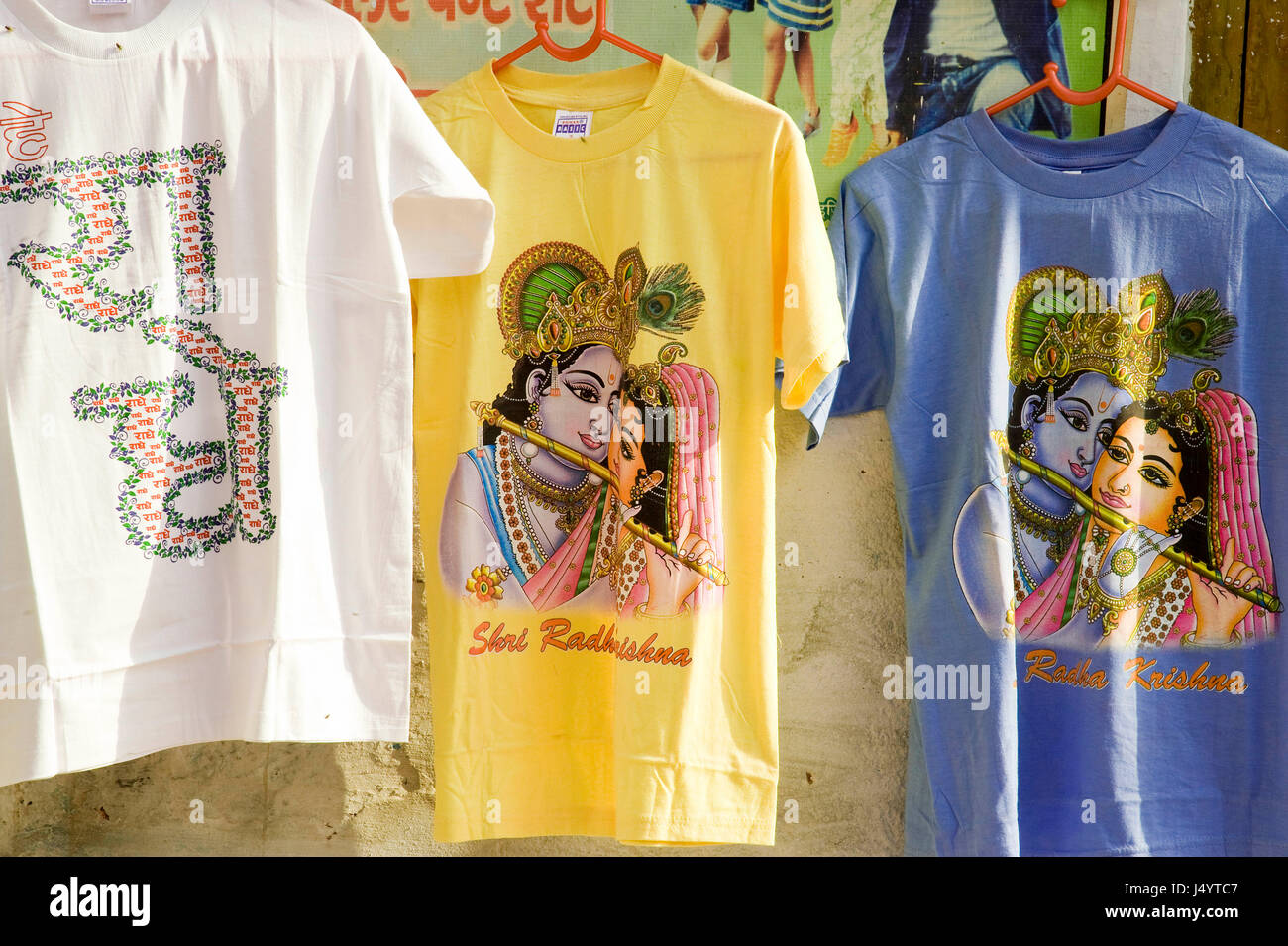 94abfc4c Radha krishna printed on t shirt, mathura, uttar pradesh, india, asia -
