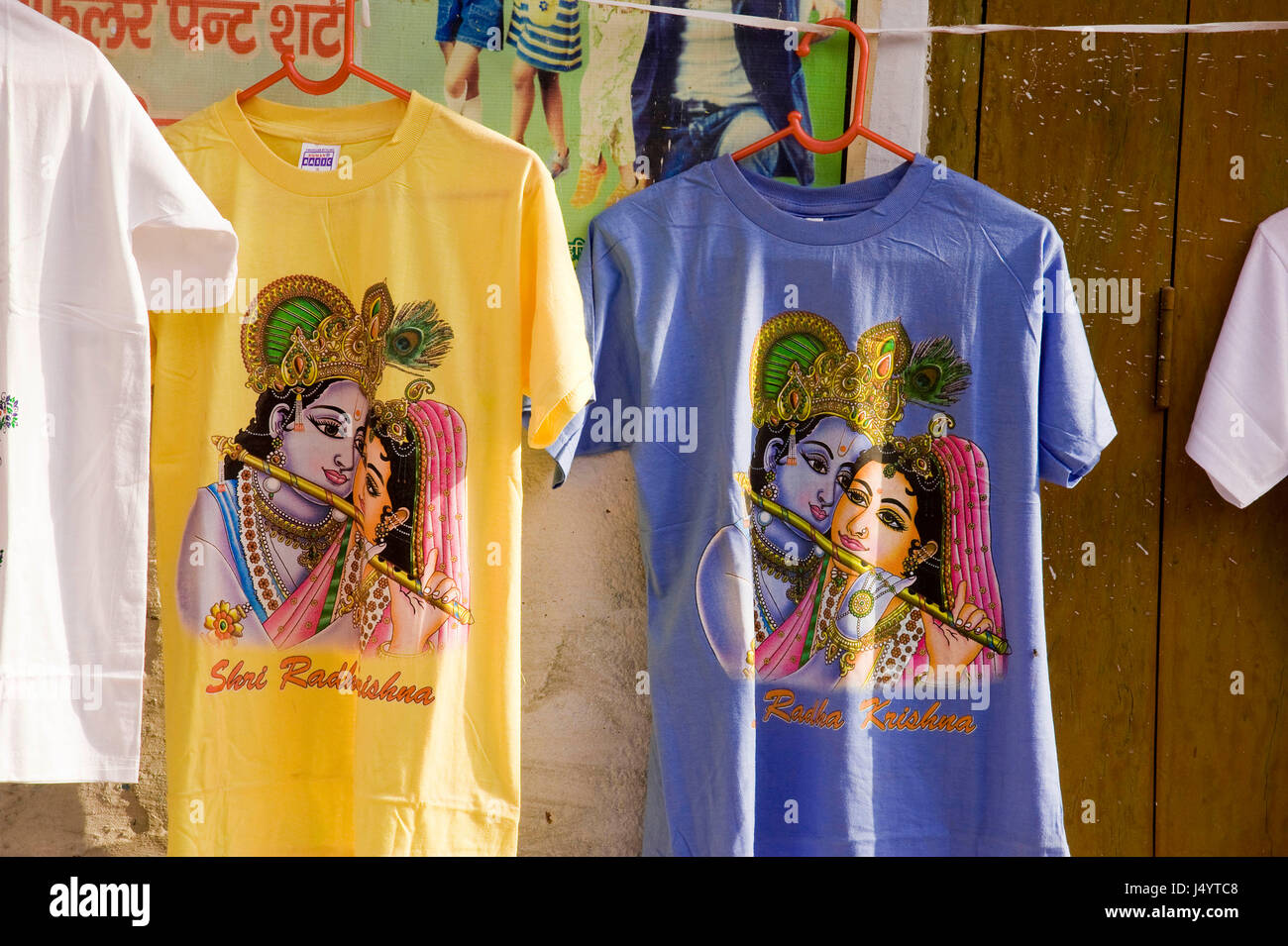 Radha krishna printed on t shirt, mathura, uttar pradesh, india, asia - Stock Image