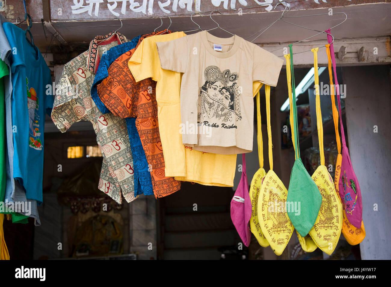 Printed radha krishna on t shirts, mathura, uttar pradesh, india, asia - Stock Image