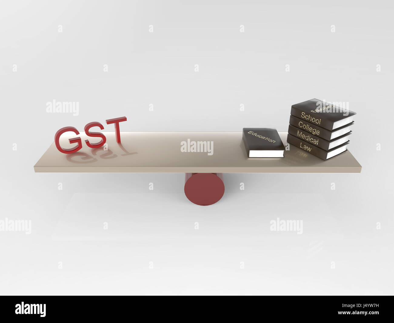 Gst and books, india, asia - Stock Image