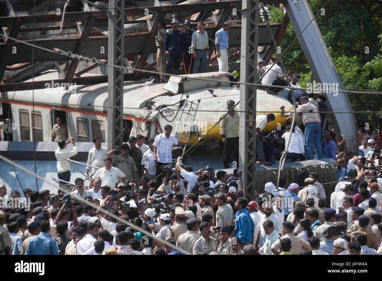 Accident water pipeline bridge collapsed over moving train, thane, mumbai, maharashtra, india, asia - Stock Image
