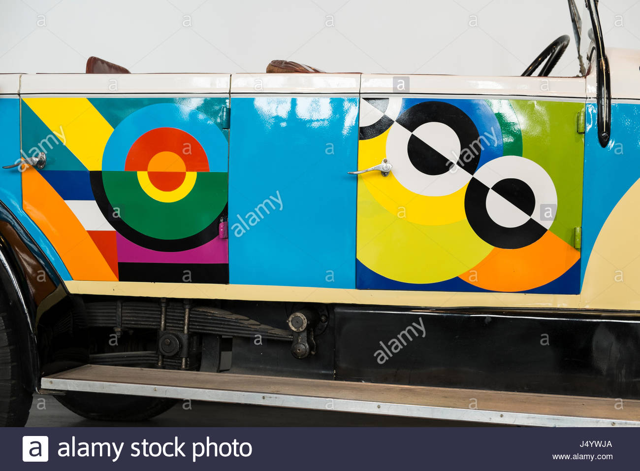 1920 Unic. Sonia Delaunay. Automobile museum of Malaga, Andalusia, Spain. - Stock Image