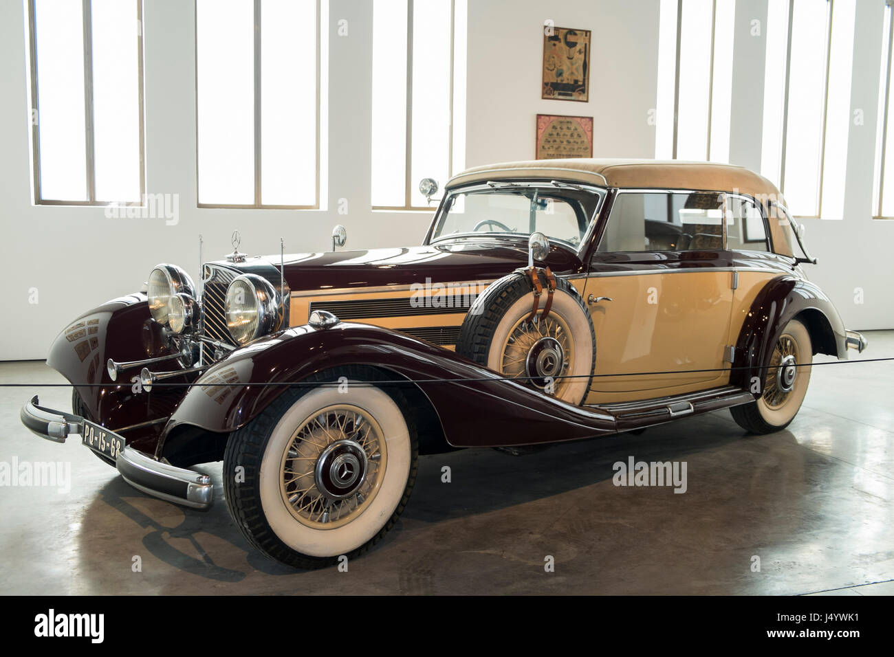 1937 Mercedes 540K. Automobile museum of Málaga, Andalusia, Spain. - Stock Image