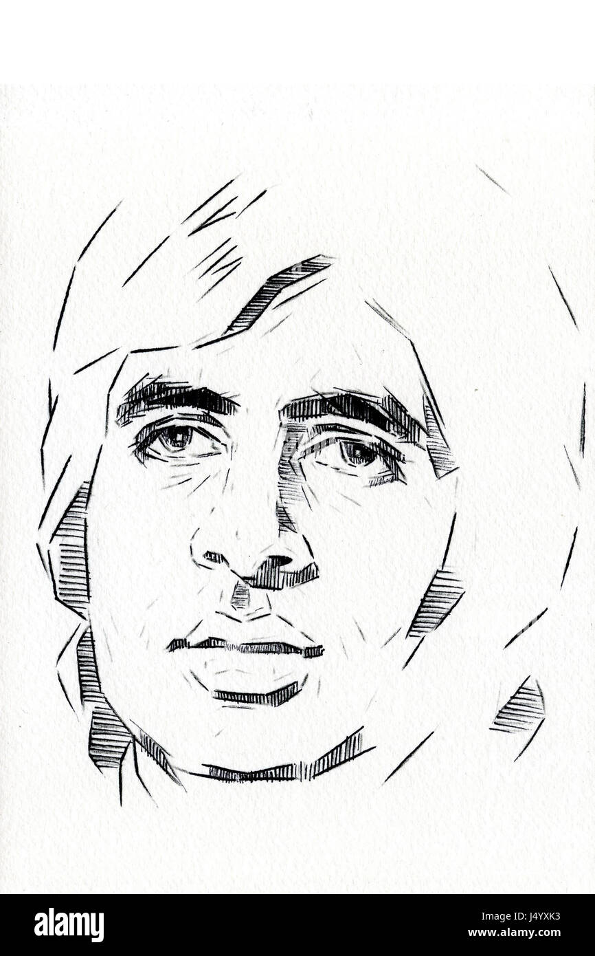 Indian bollywood actor amitabh bachchan drawing india asia stock image