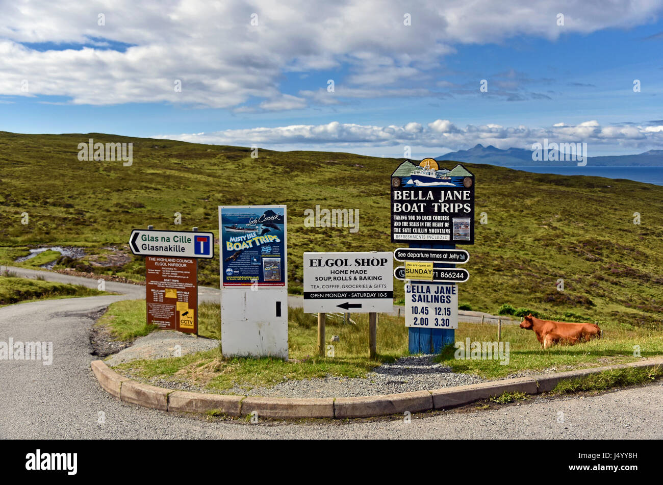 Advertising signboards. Elgol, Loch Scavaig, Strathaird, Isle of Skye, Highlands, Scotland, United Kingdom, Europe. - Stock Image