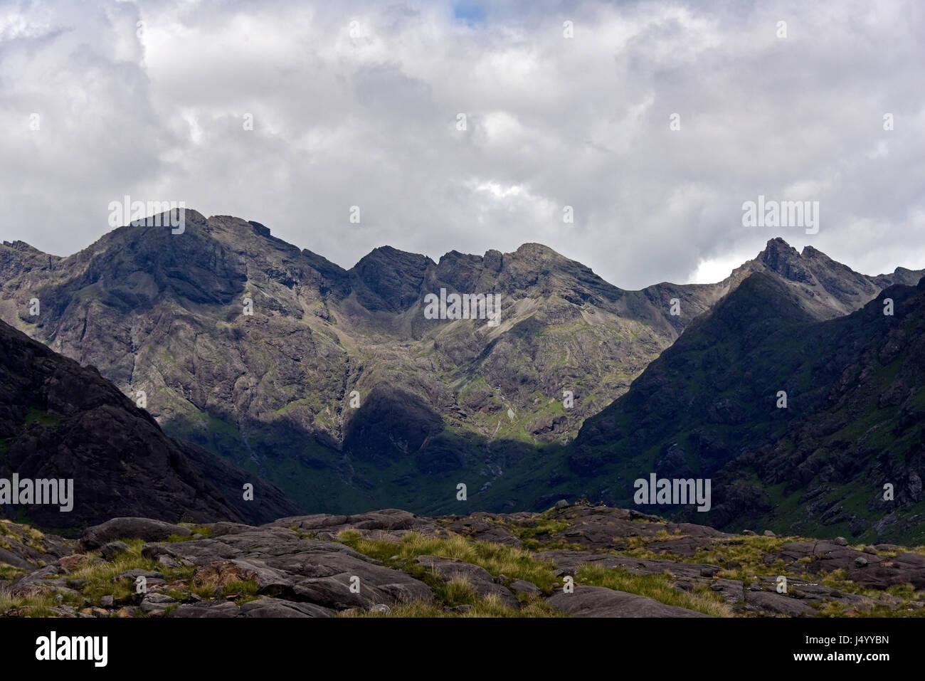 The Black Cuillin viewed from Loch Coruisk. Isle of Skye, Highland, Scotland, United Kingdom, Europe. - Stock Image