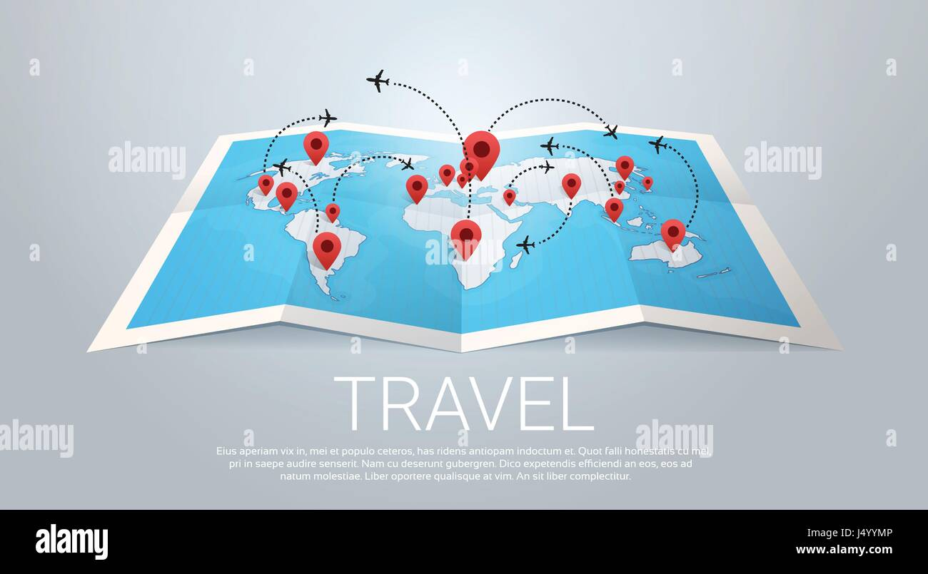 World Map Earth With Pins Travel Concept - Stock Vector