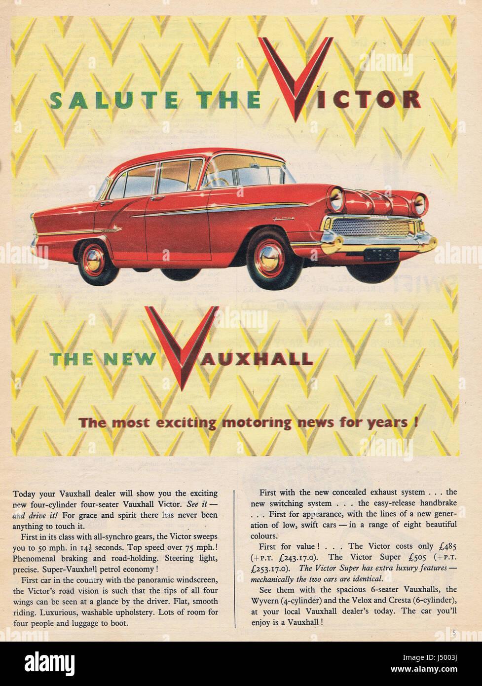 Vauxhall Victor Motor Car Advert 1950's - Stock Image