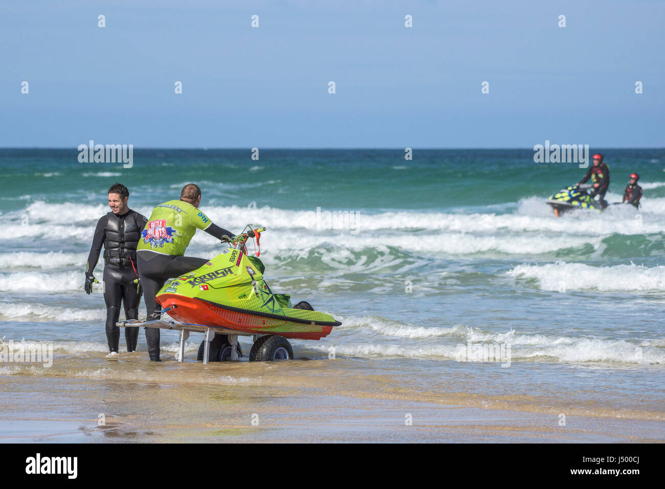Jetski; Jet ski; Competitors at the IFWA championships; Battle of the Pilots; Competition; Sport; Sea; Spray; PWC; - Stock Image