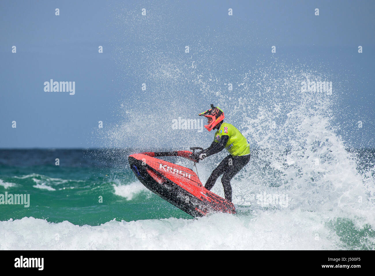 A jetski rider at the IFWA Championships Jetski Jet ski Spectacular action  IFWA Championships Battle of the pilots - Stock Image