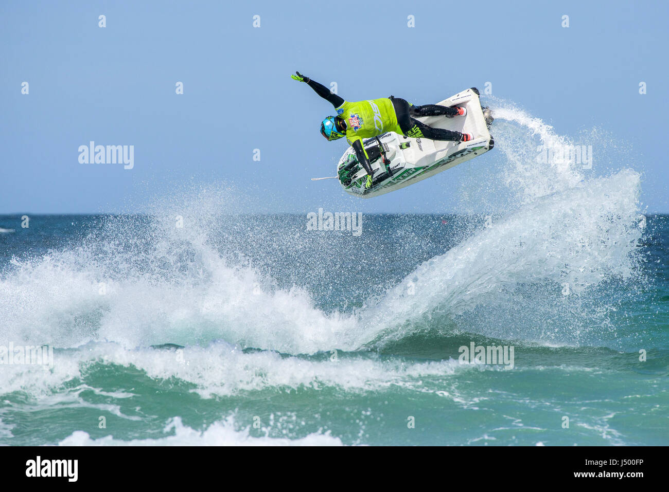 Jetski; Jet ski; Spectacular action; Aerial trick; Aerial stunt; IFWA championships; Battle of the Pilots; Competition; - Stock Image