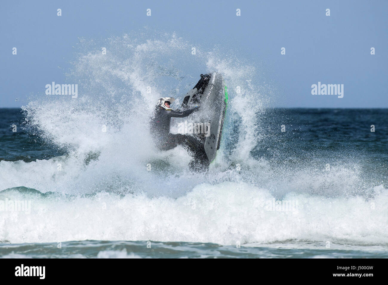 Jetski Jet ski Spectacular action Aerial trick Aerial stunt IFWA championships Battle of the Pilots Competition - Stock Image