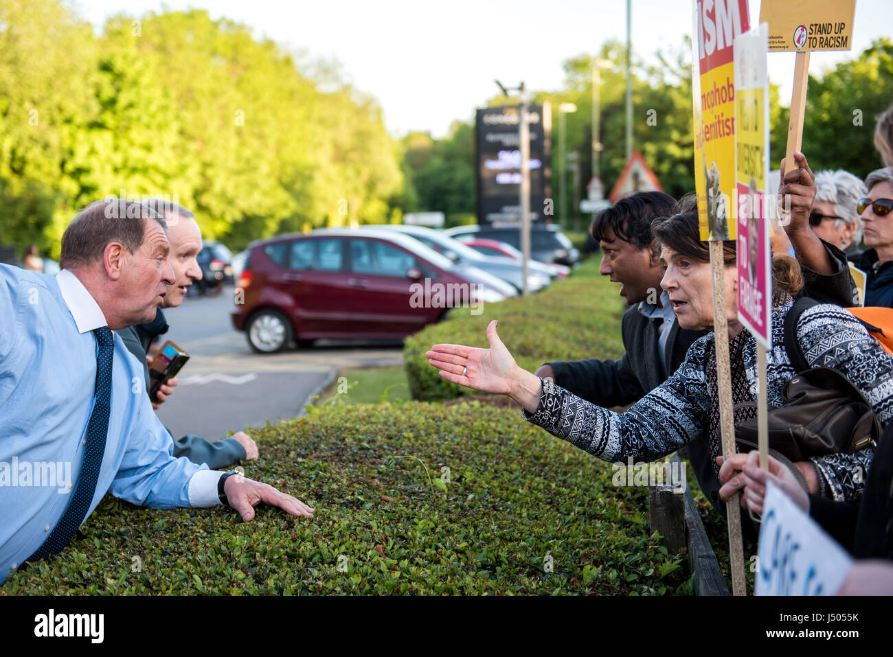 The Concorde Club, Eastleigh, Hampshire, United Kingdom. 14th May, 2017. Southampton Stand Up to Racism activists - Stock Image