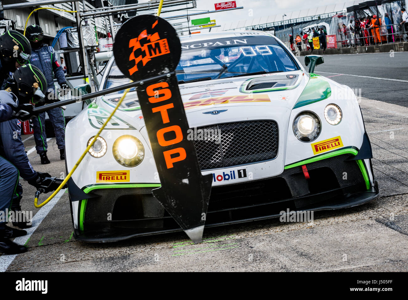 Towcester, Northamptonshire, UK. 14th May, 2017. Blancpain GT Series racing driver Guy Smith / Oliver Jarvis / Steven - Stock Image