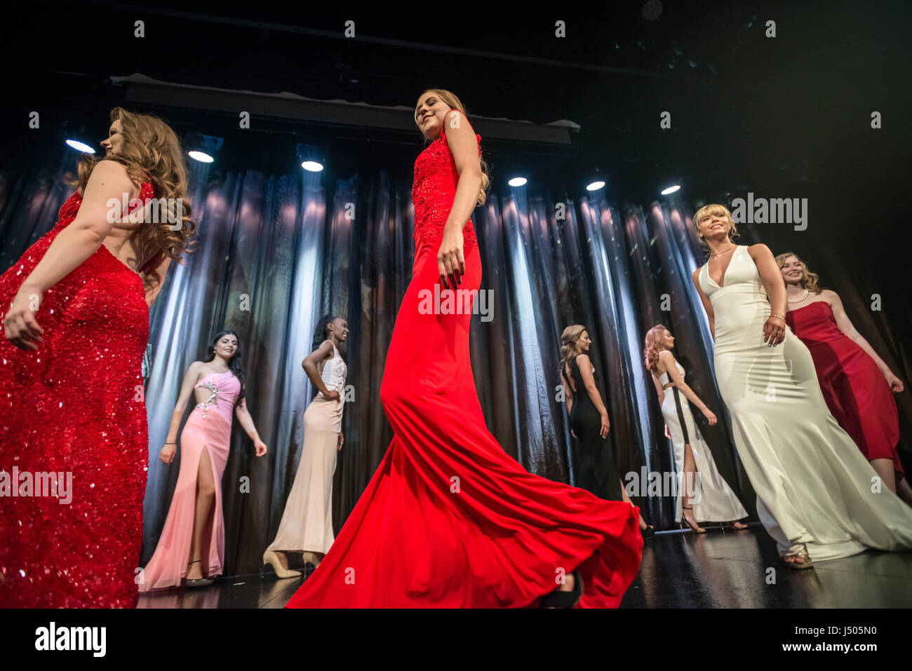 London, UK. 12th May, 2017. Sophie Walker (centre) competes at Miss London 2017 Finale © Guy Corbishley/Alamy Live Stock Photo