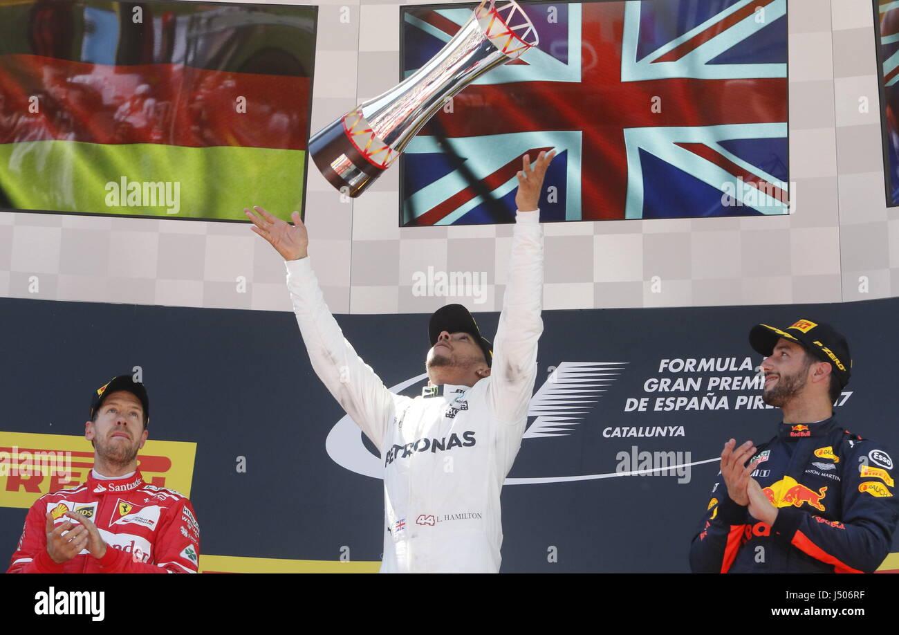 Barcelona, Spain. 14th May, 2017. Lewis Hamilton (GBR) Mercedes-Benz winner of  Formula 1, Spanish Grand Prix, Barcelona. - Stock Image