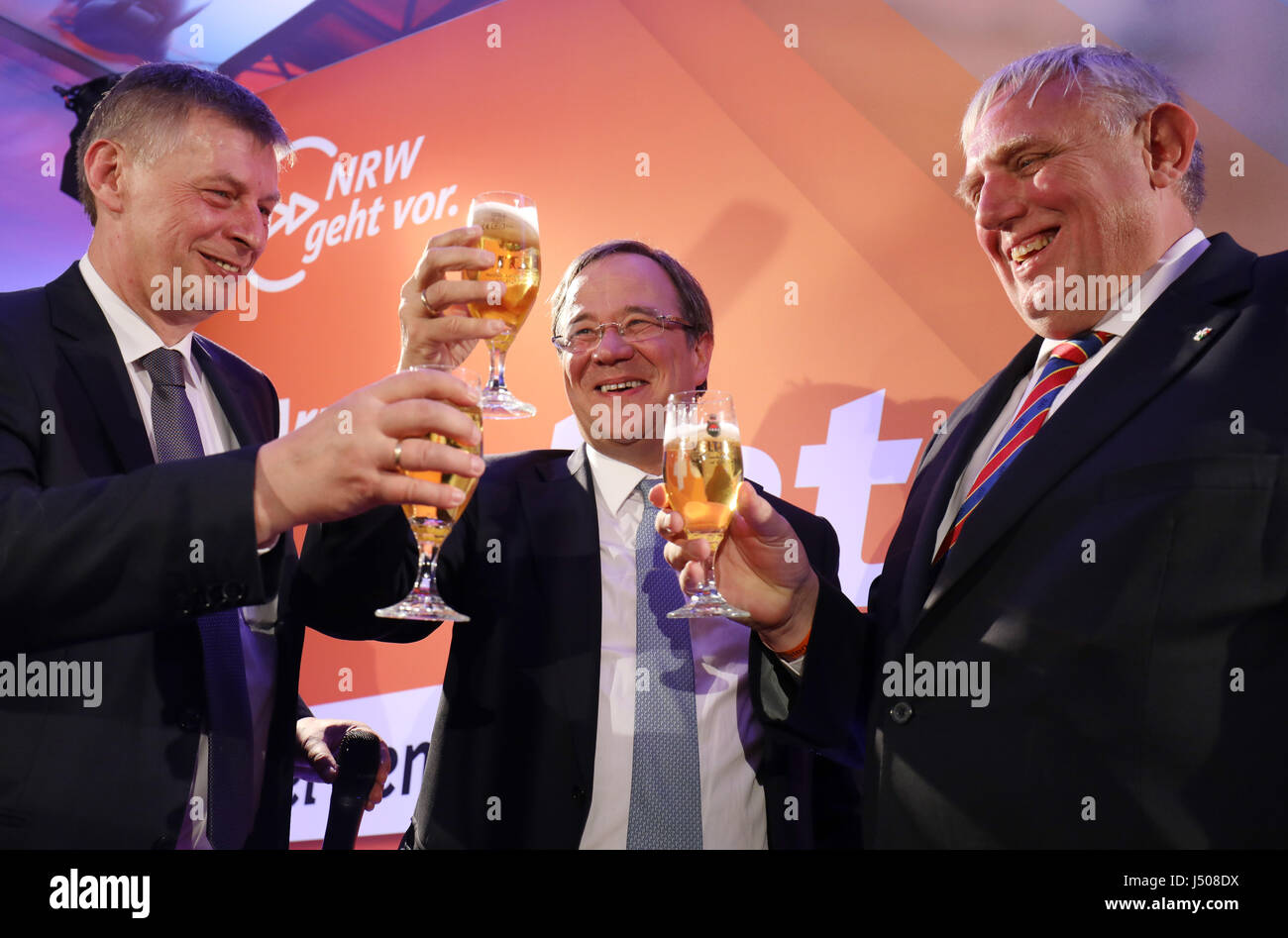 Duesseldorf, Germany. 14th May, 2017. The top candidate of the CDU, Armin Laschet celebrates the election results - Stock Image