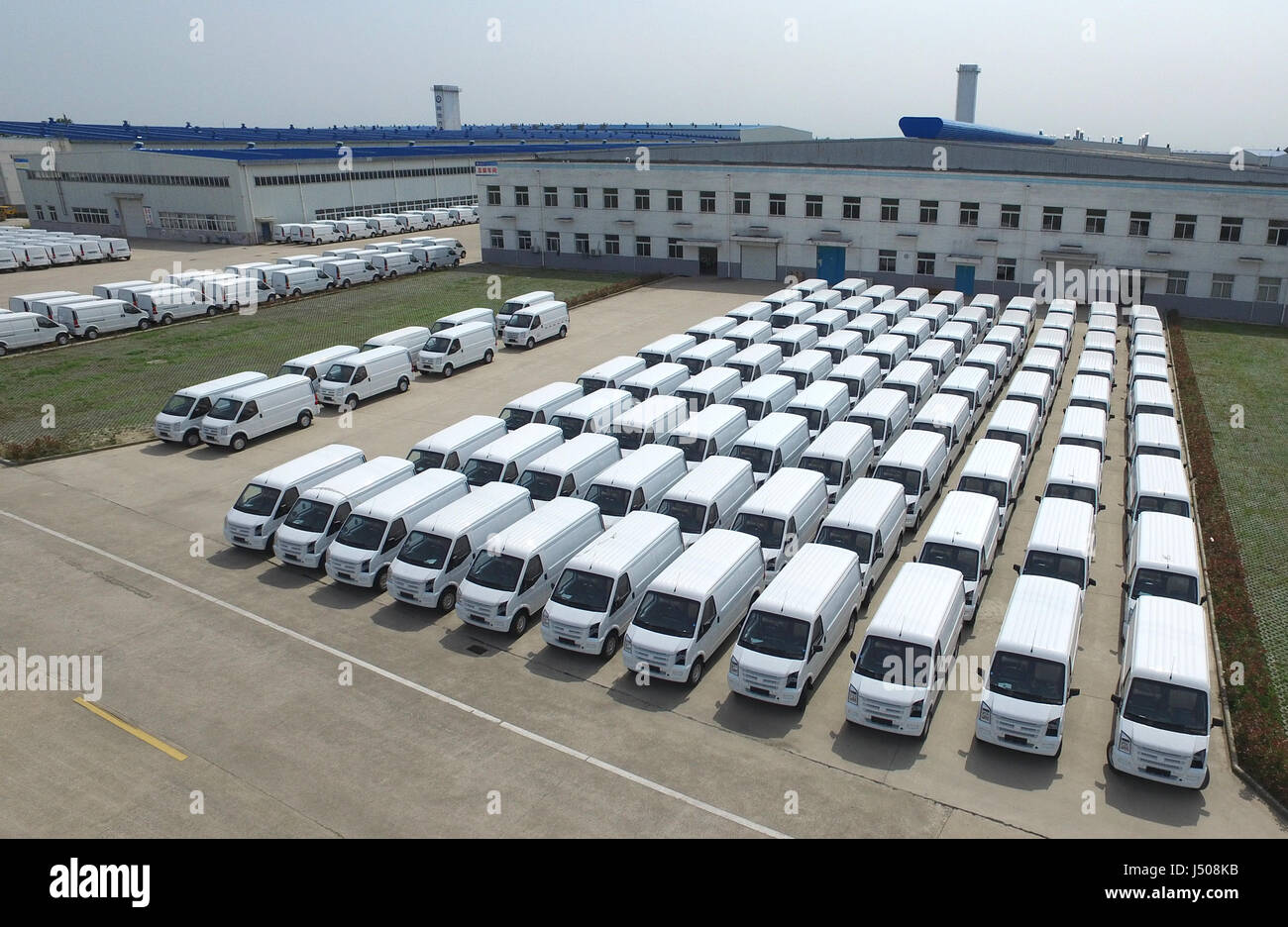 Nantong. 14th May, 2017. Photo taken on May 14, 2017 shows electric vehicles at the Rugao base of auto maker Green - Stock Image