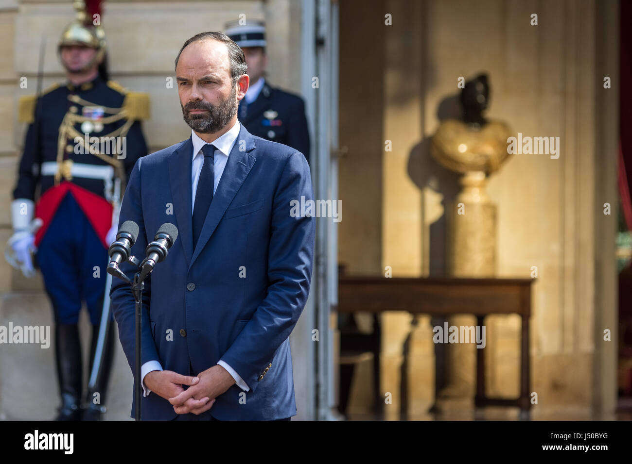 Paris, France. 15th May, 2017.  Prime Minister handover in Matignon  -  15/05/2017  -  France / Paris  -  Ceremony - Stock Image