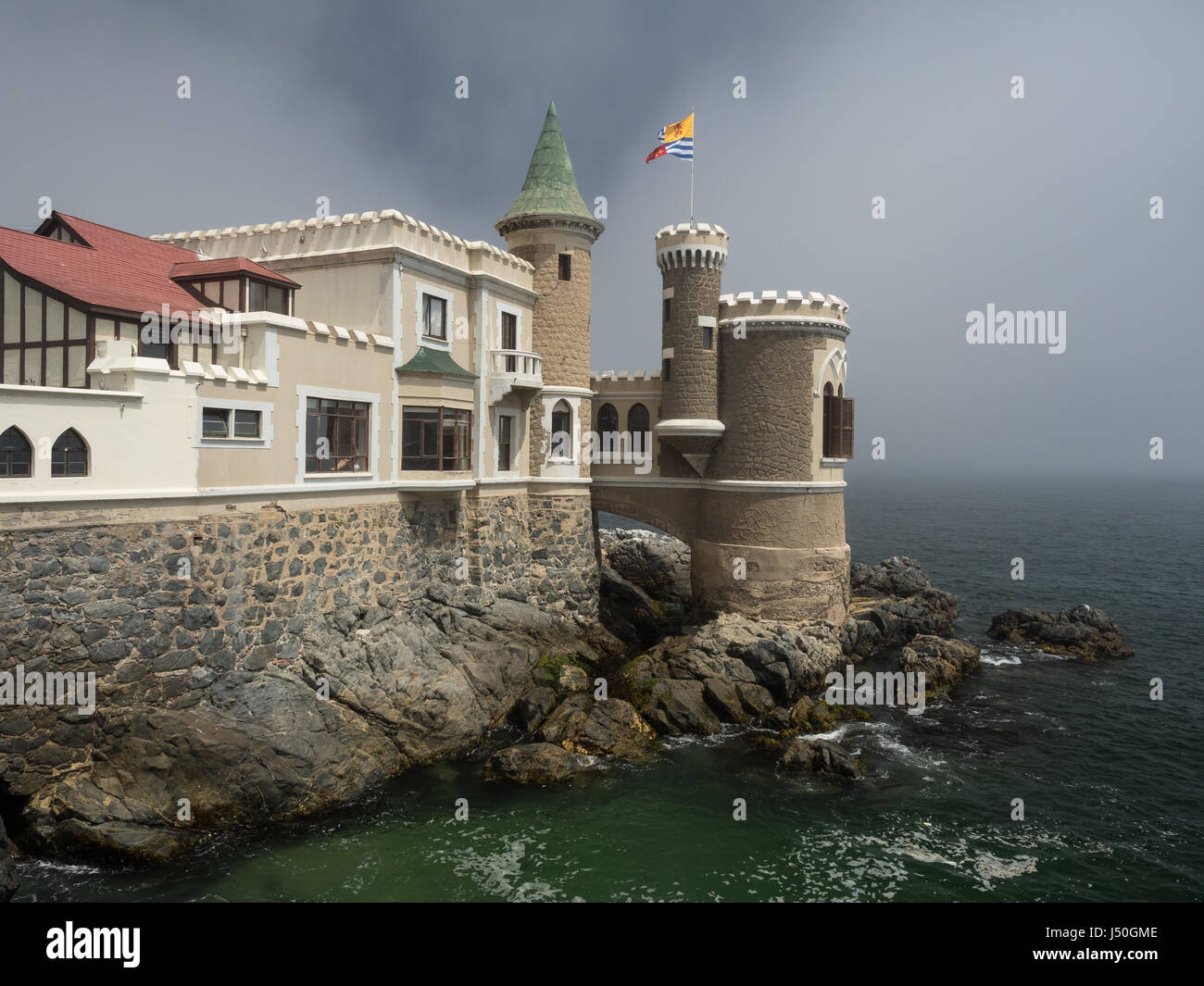Wulff Castle is a historic castle overlooking the sea in Viña del Mar, Chile. It was built in 1906 for the - Stock Image