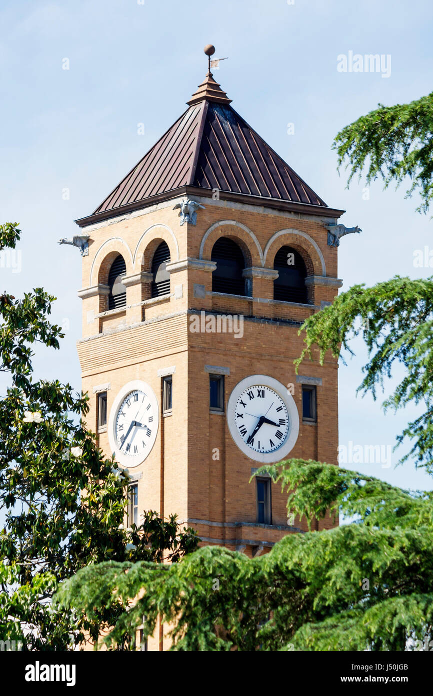 Alabama Tuskegee Macon County Courthouse clock tower exterior trees 19th century Romanesque Revival style Black - Stock Image
