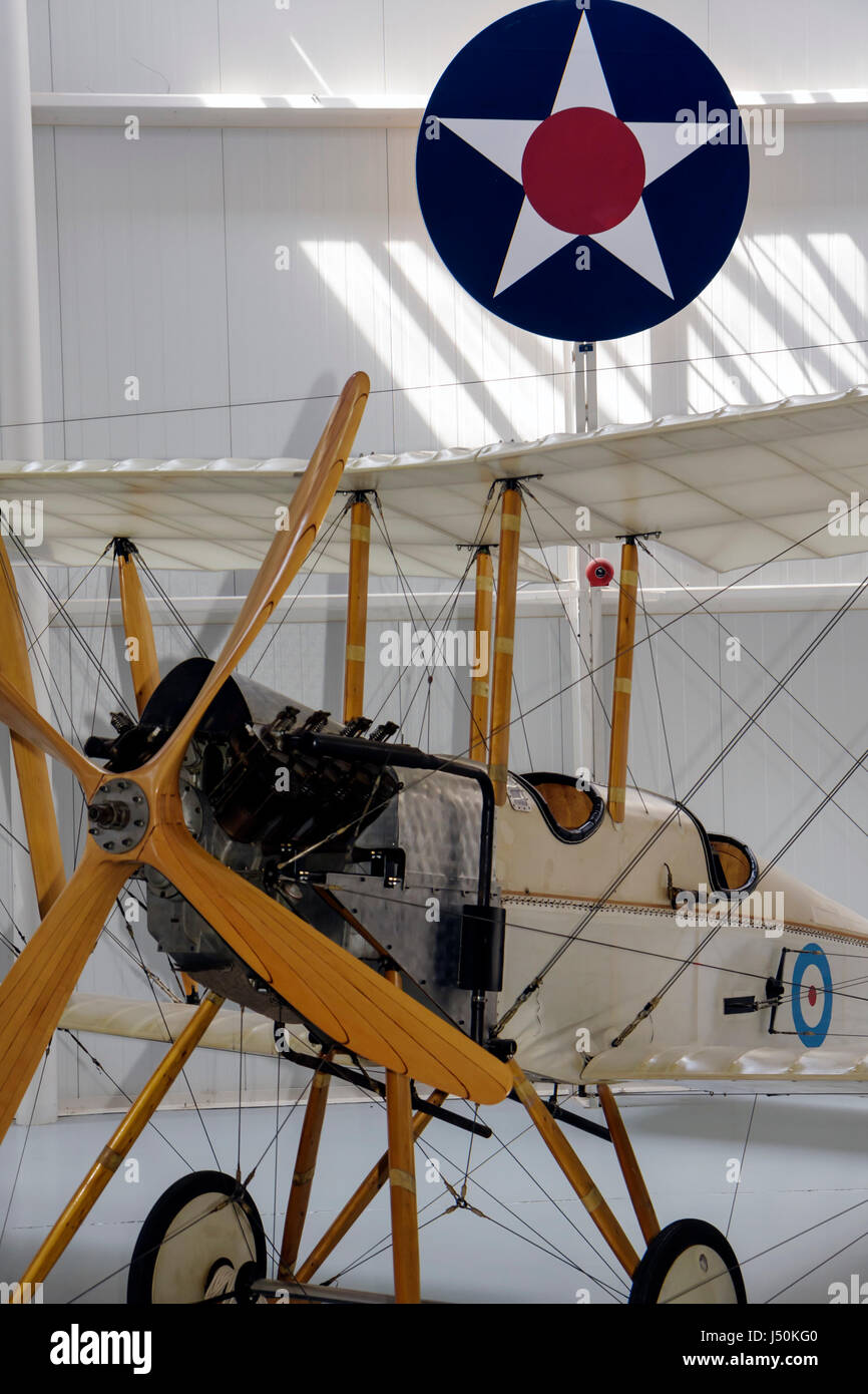 Alabama Ft. Fort Rucker United States Army Aviation Museum BE 2C staggered wings aircraft military exhibit defense - Stock Image